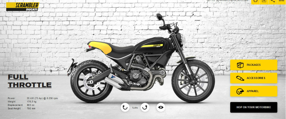 Ducati Scrambler Full Throttle Configurator