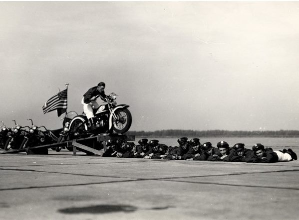 Seattle Cossacks_Motorcycle_Stunt_and_Drill_Team_performing_a_13-man_jump